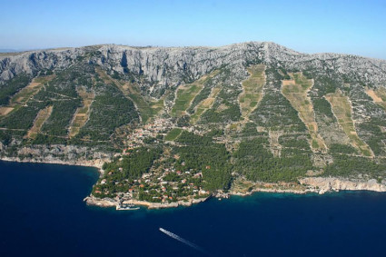 Famous Sv.Nedelja home of Hvar wine industry pioneer Zlatan Plenkovic  steep hill vineyards